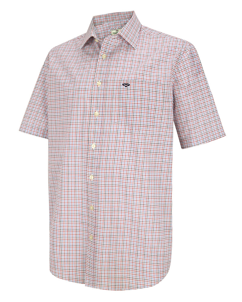 Hoggs Of Fife Muirfield Short Sleeved Shirt - Red/Navy Check