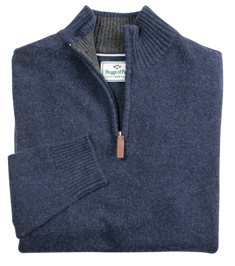 Hoggs of Fife Lothian 1/4 Zip Neck Pullover - Indigo