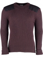 Woolly Pully York Crew Neck Sweater with patches, epaulettes & pen pocket - Purple Mix
