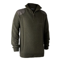 Deerhunter Sheffield Knit with Zip Neck - Green Melange