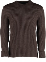 Woolly Pully York Crew Neck Sweater with patches - Peat Brown