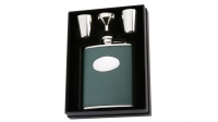 David Nickerson Green Leather Hip Flask Presentation Kit